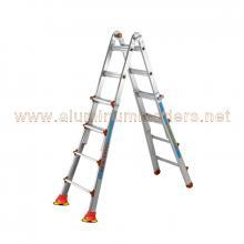 3+3 treads Aluminium telescopic ladders Anti slip safety Suction cups foot